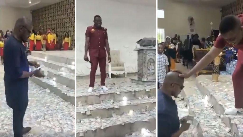 Tony Chidi Onwurolu Spray money for Pastor