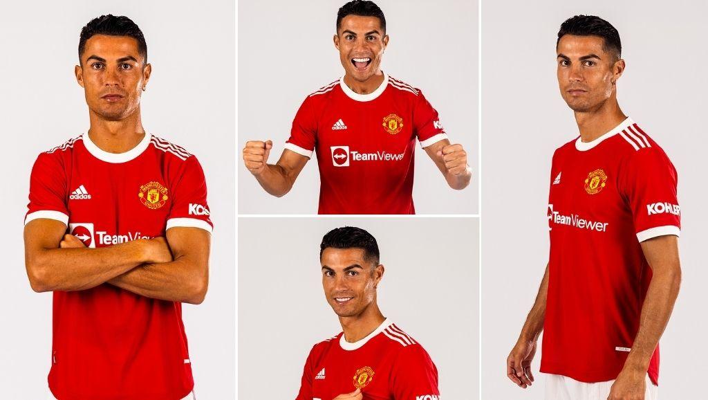 Cristiano Ronaldo poses in Manchester United jersey