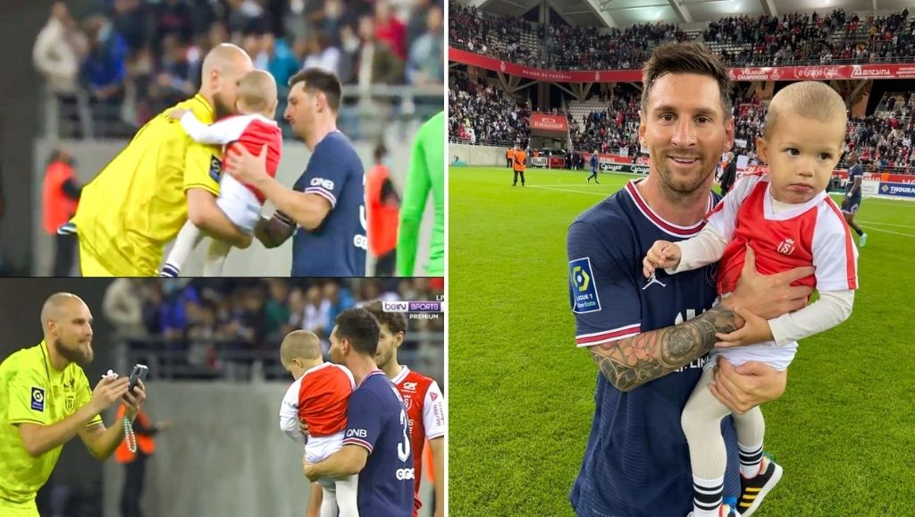 Lionel Messi and Reims' goalkeeper's son